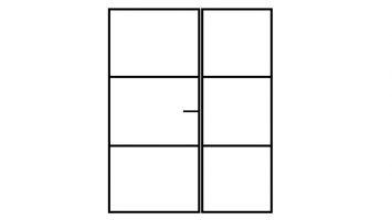 Zwart stalen kozijn met enkele deur en vaste glazen wanddeel voor binnen