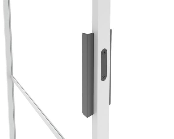Stalen deurgreep met strak design voor stalen kozijnen binnen